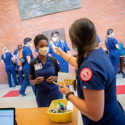 Nurses checking in on the Portland campus