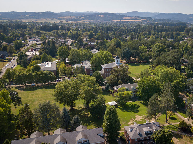 aerial shot of the McMinnville campus
