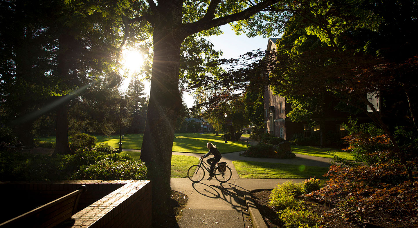 Morning bike ride through the academic quad