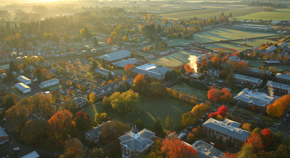 Aerial image of Linfield's McMinnville campus